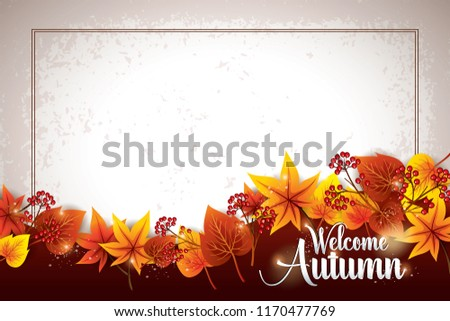 Thanks Giving background layout decorate with leaves .Vector illustration.