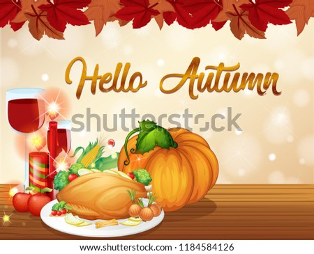 Thanksgiving autumn card template illustration