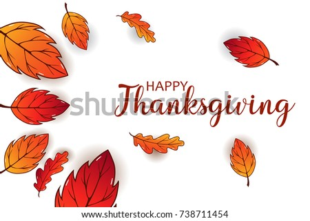 Thanksgiving calligraphy vector illustration. Thanksgiving background design decorated with colorful leaves for web banner, postcard, and invitation card. #738711454