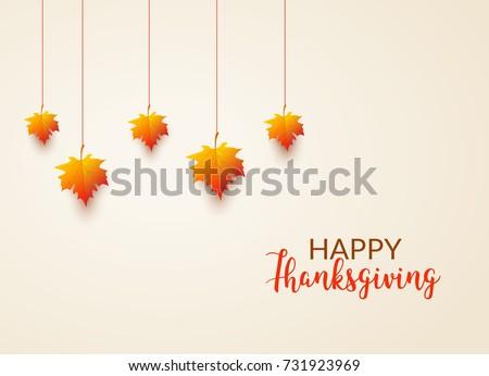 Thanksgiving card celebration banner. Thanksgiving season holiday backgorund flyer with leaf.