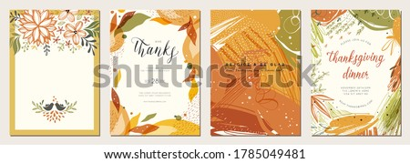 Thanksgiving cards. Set of abstract creative universal artistic templates. Good for poster, invitation, flyer, cover, banner, placard, brochure and other graphic design. Vector illustration.