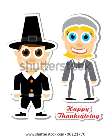 Thanksgiving cartoon figure set