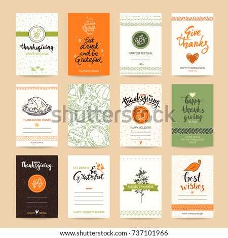 Thanksgiving congratulation card, festive poster, greeting banner, party invitation, flyer vector templates. Hand drawn traditional symbols, design elements, thin line icons, handwritten lettering.