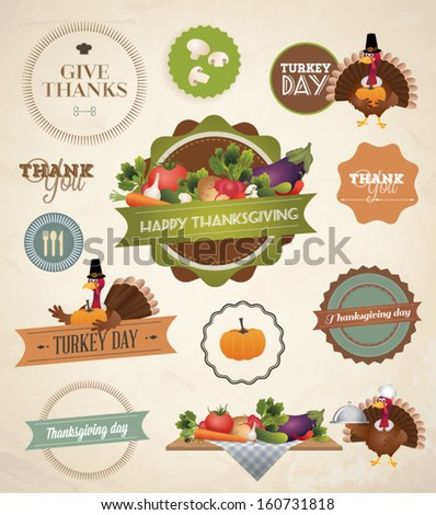 Thanksgiving Day and Harvest Labels and Stamps