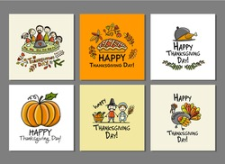 Thanksgiving day, art cards for your design. Vector illustration