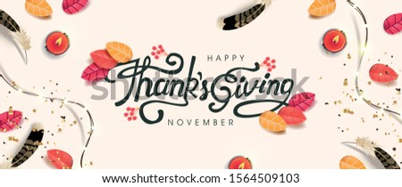 """Thanksgiving day banner background with sparkling lights garland and autumn fall,candle. Celebration quotation for card.vector illustration.Autumn season Calligraphy of """"Thanksgiving""""."""