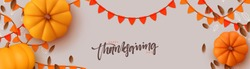 Thanksgiving day banner. Festive background with realistic 3d orange pumpkins, fall foliage. Horizontal holiday poster, header for website. Flat top view. Vector illustration