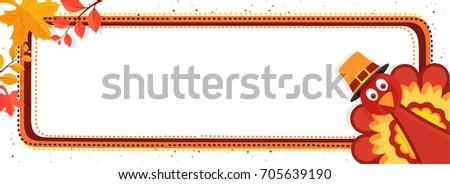 Thanksgiving Day banner with Turkey Bird, Autumn Leaves and space for your text.