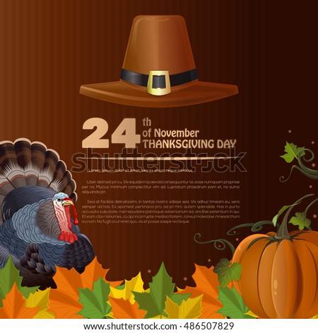 Thanksgiving Day design (USA). November 24th. Thanksgiving background. Vector illustration with pumpkin, turkey, fallen autumn leaves and pilgrim's hat