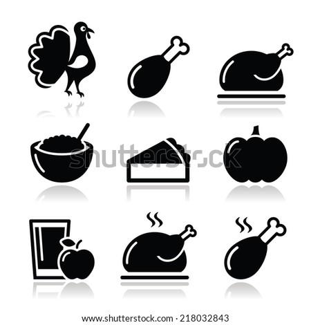 Thanksgiving Day food icons set - turkey, pumpkin pie, cranberry sauce, apple juice