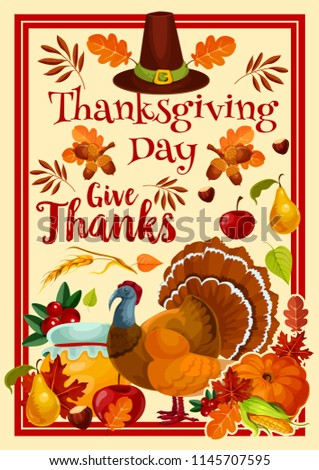 Thanksgiving Day greeting card for traditional autumn holiday. Vector design of turkey, pumpkin and berry fruits harvest with acorns in autumn maple, oak or rowan leaf fall