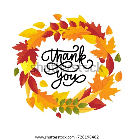 Thanksgiving day greeting card. Vector illustration of autumn leaves wreath and lettering thank you.