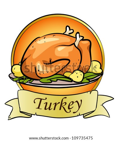Thanksgiving day logo design, roasted turkey, space for text