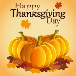 Thanksgiving Day. Maple leaf and  pumpkin. Vector illustration