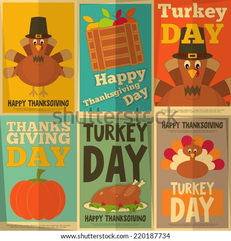 Thanksgiving Day Retro Posters Collection with Cartoon Turkey Vector Illustration