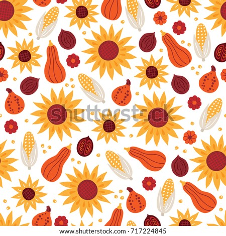 Thanksgiving Day seamless pattern with sunflower, corn, pumpkin, nut on white background. Perfect for wallpaper and greeting cards