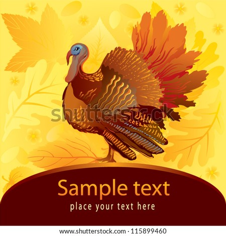 Thanksgiving decorative card with turkey on autumn background