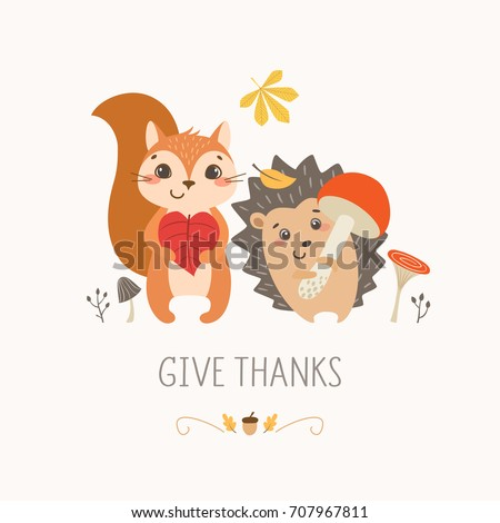 thanksgiving design with cute