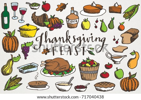 Thanksgiving Feast Clip Art - Hand Drawn Autumn & Fall Food Illustrations