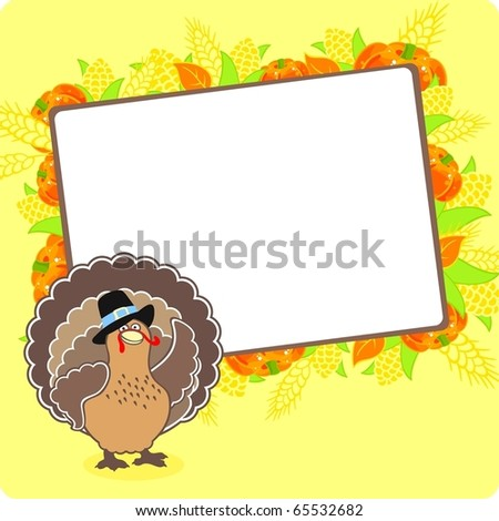Thanksgiving frame with a turkey