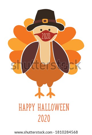 Thanksgiving 2020 greeting card template. Fully editable vector illustration. Turkey wearing a face mask. Stay home, social distancing design. Flyer, poster, greeting card, social media post Foto d'archivio ©