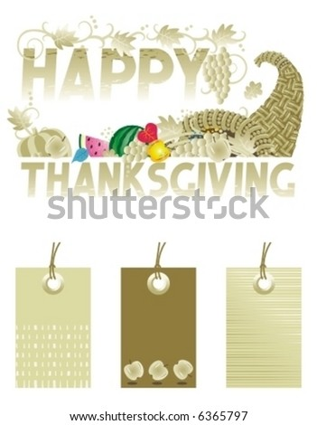 Thanksgiving greeting with cornucopia and same colors tags design elements ( for high res JPEG or TIFF see image 6364912 )