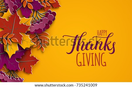 Stock Photo Thanksgiving holiday banner with congratulation text. Autumn tree leaves on yellow background. Autumnal design for fall season poster, thanksgiving greeting card, paper cut style, vector illustration