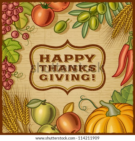 Thanksgiving Retro Card. Vector