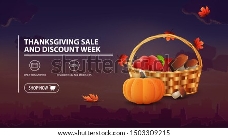 Thanksgiving sale and discount week, discount banner with city on background, fruit and vegetable basket