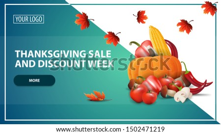 Thanksgiving sale and discount week, discount web banner template for your website in a modern style with autumn harvest