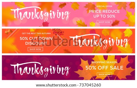 Thanksgiving sale poster or autumn fall season discount promo offer web banners template background for 50 percent price off. Vector autumn maple leaf and calligraphy design for Thanksgiving sale #737045260