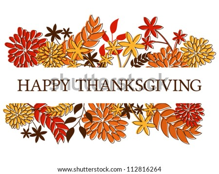 Thanksgiving season al design with autumn leaves and flowers isolated on white