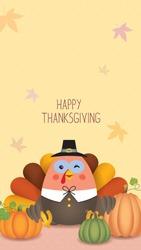 Thanksgiving template for smartphone wallpaper, screensaver, poster or banner design. Cute cartoon turkey with pumpkins. Autumn illustration.