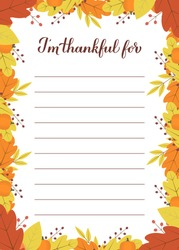 Thanksgiving Thankful List, I'm Thankful for calligraphy hand lettering in autumn fall Leaves frame. Gratitude Card. Thanksgiving  Day Decoration. Easy to edit vector template.