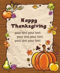 Thanksgiving theme: Beautiful Holiday paper arrangement with the space for your own text, on the wooden background.