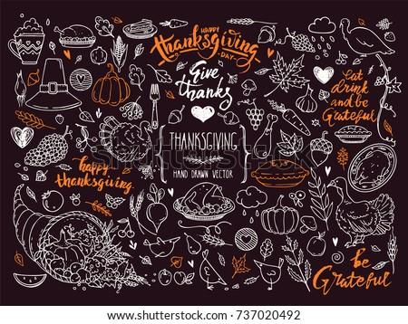 Thanksgiving traditional symbols. Hand drawn design elements, illustrations, handwritten lettering. Vector collection for banner, congratulation card, invitation, poster: pumpkin pie, turkey, corn etc