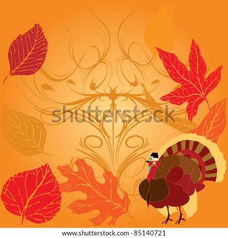 Thanksgiving Turkey over Autumnal background