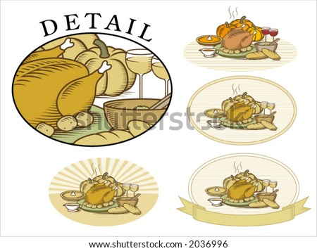 "Thanksgiving Turkey with pumpkin,pumpkin pie,potatoes,salad,vegetables,gravy,bread & wine. Woodcut style illustration in color & ""duotone"", available in several backgrounds"
