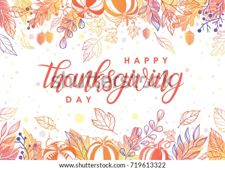 Thanksgiving typography.Hand drawn lettering with stylized pumpkins,leaves,acorns and confetti in fall colors.Thanksgiving design perfect for prints,flyers,banners, invitations,special offer and more.
