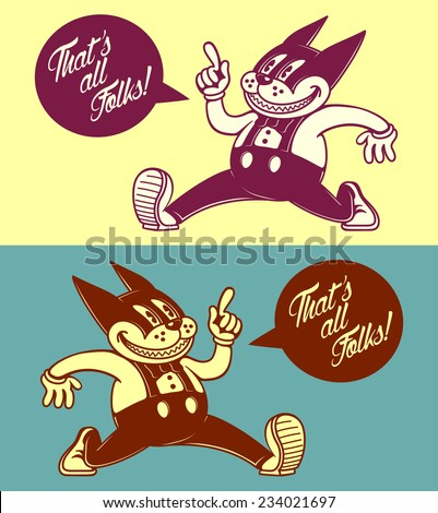 that's all folks! vintage cartoon cat character with comic book speech bubble, retro 50s advertising
