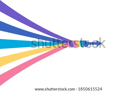 The abstract concept of teamwork, partnership, merger, alliance. Many multi-colored lines merge into a single arrow. Flat vector illustration isolated in white background. Сток-фото ©