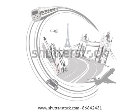 The abstract concept of travel to places of interest - stock vector