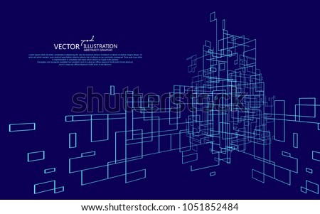 The abstract figure of the lines, the design of the virtual space.