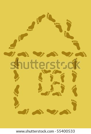 The abstract image: a small house from traces on sand
