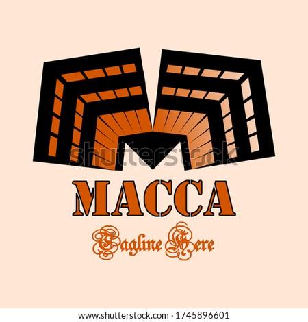 The abstract logo of the Kaaba building (Ka'bah / Baitullah) forms the letter 'M'. Vector Logo of the Kaaba. Zdjęcia stock ©