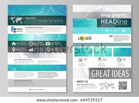 The abstract minimalistic vector illustration of the editable layout of two modern blog graphic pages mockup design templates. Chemistry pattern. Molecule structure. Medical, science background.