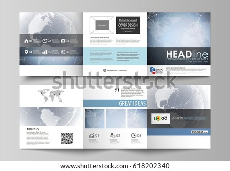 The abstract minimalistic vector illustration of the editable layout. Two creative covers design templates for square brochure. Abstract futuristic network shapes. High tech background