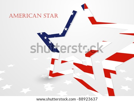 The abstract star with american flag, vector illustration eps10
