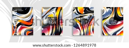 The abstract texture of brightly colored liquid paint. vector cover book with marble color on eps 10 #1264891978