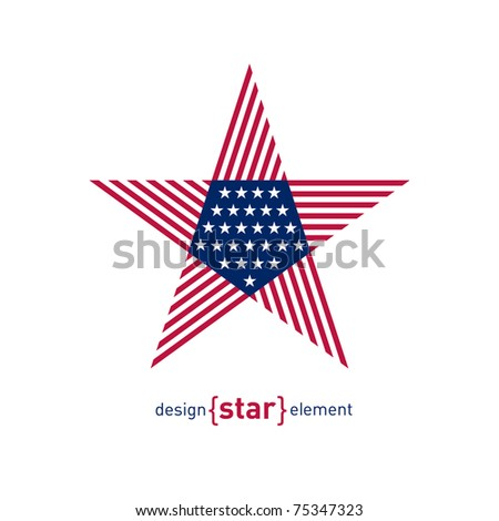 The Abstract vector design element star with american flag